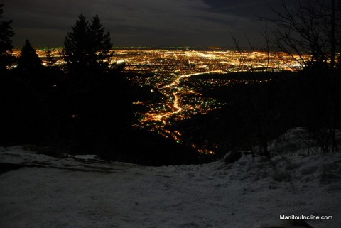 Colorado Springs at Night from Incline Summit in Moonlight