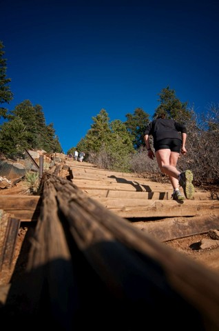 Hikers push through the steepest portion of the Incline which is a staggeringly high 68% grade.