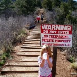 Red and White Manitou Incline No Trespassing Sign