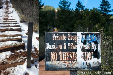 Manitou Incline No Trespassing Sign Gone