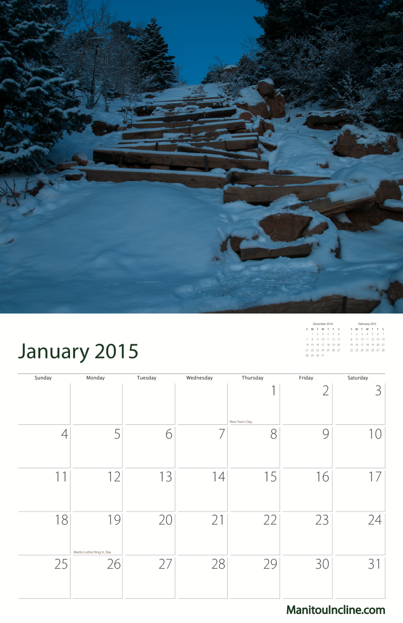 Manitou Incline Calendar Sample January 2015. Click To See Sample Month