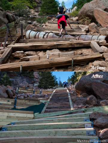 Manitou Incline Before and After Repairs