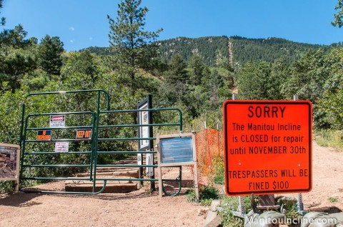 Manitou Incline Closed Sign