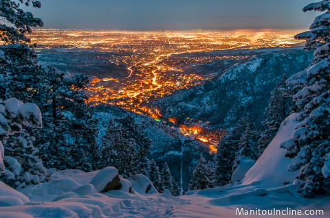 Snowy Manitou Incline at Dusk
